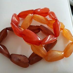 Bundle of 3 Orange Brown Yellow stretch Bracelets